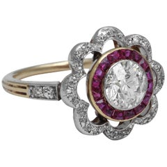 Turn of the Century Diamond and Ruby Ring