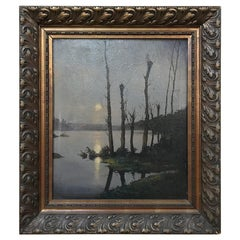 Turn of the Century Framed Oil Painting on Canvas