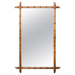 Turn of the Century French 1900s Faux Bamboo Mirror with Protruding Corners