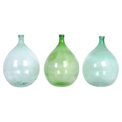 Turn of the Century French Balloon Wine Flasks, Set of Three