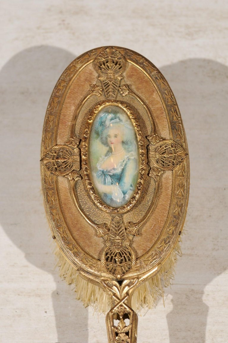 Turn of the Century French Brass Filigree Horsehair Brush with Painted Portrait For Sale 4