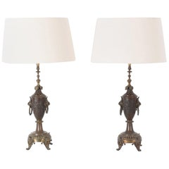 Turn of the Century French Brass Table Lamps, a Pair