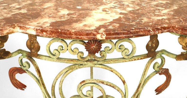 Victorian Turn of the Century French Marble and Iron Scroll Console For Sale
