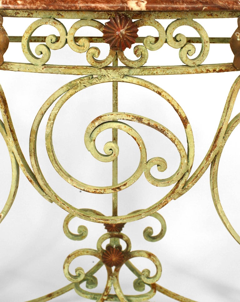 Turn of the Century French Marble and Iron Scroll Console In Good Condition For Sale In New York, NY