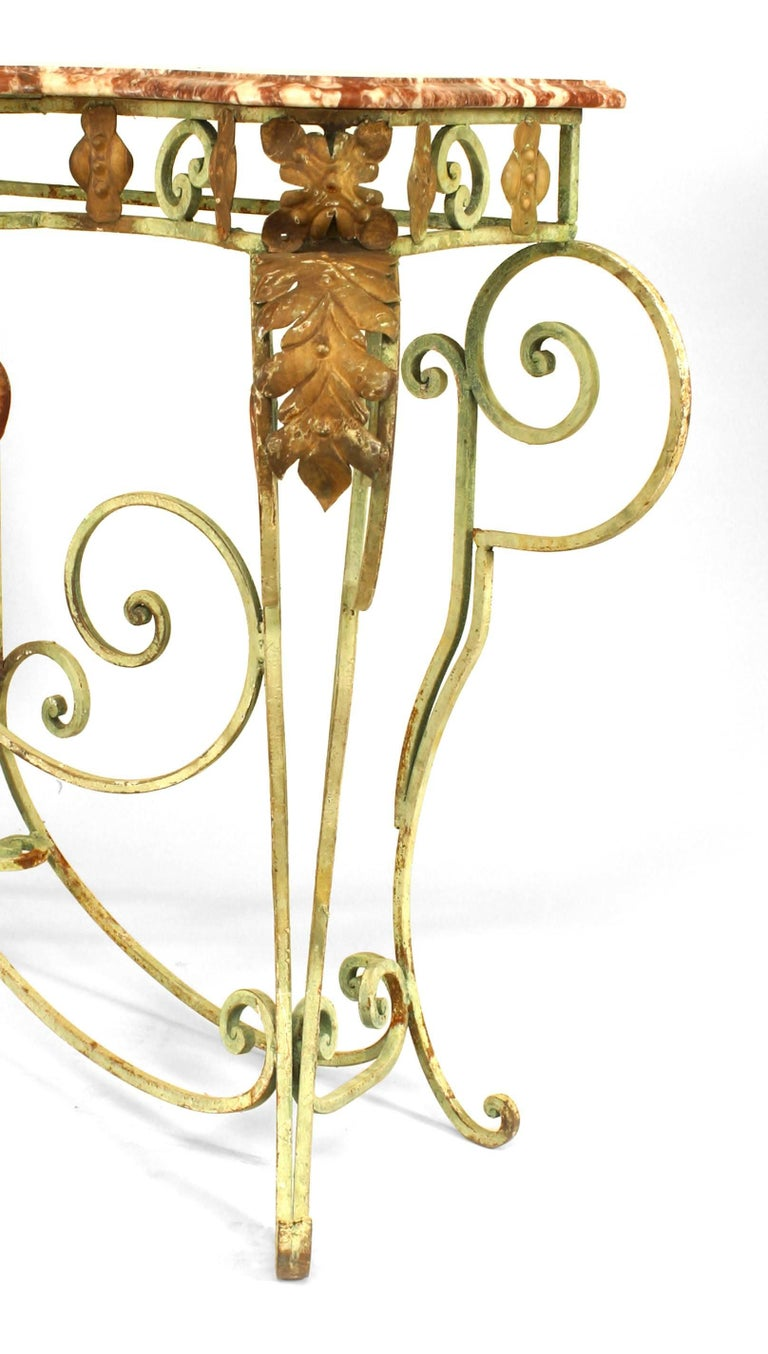 19th Century Turn of the Century French Marble and Iron Scroll Console For Sale