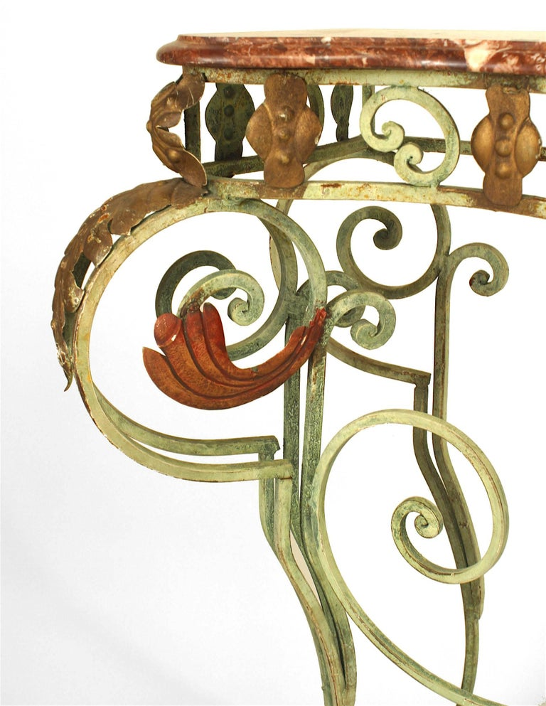 Turn of the Century French Marble and Iron Scroll Console For Sale 1