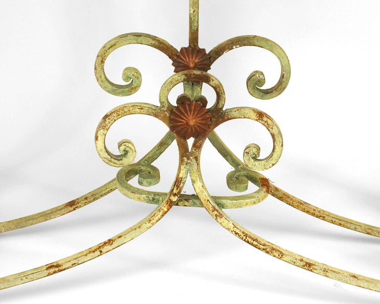 Turn of the Century French Marble and Iron Scroll Console For Sale 2