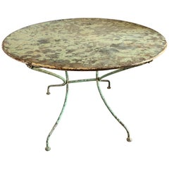 Turn of the Century French Original Pale Green Painted Metal Bistro Table