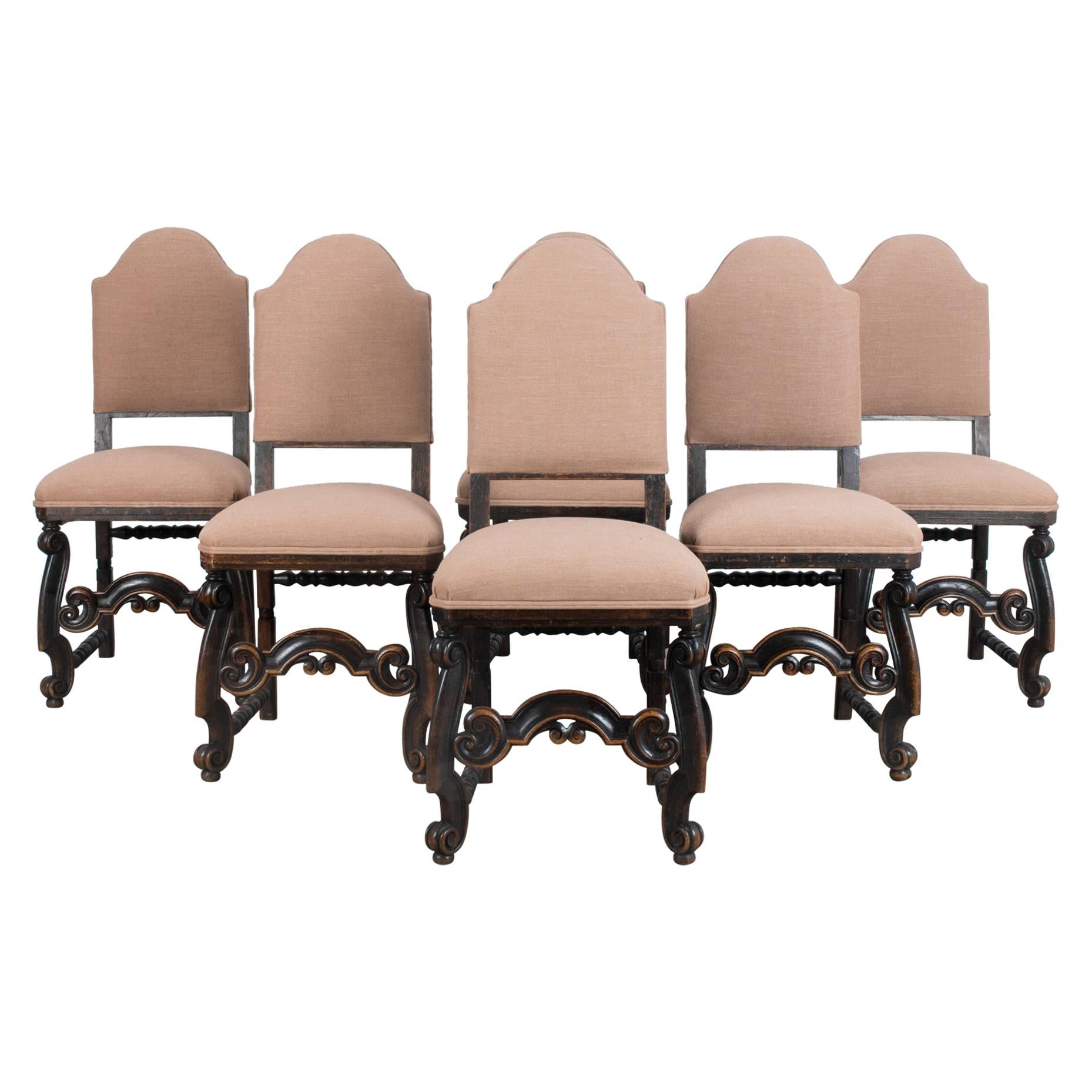 Turn of the Century French Wooden Dining Chairs, Set of Six