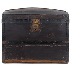Turn of the Century French Wooden Travel Chest