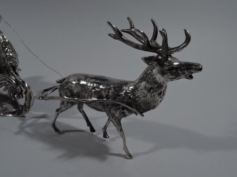 Turn-of-the-Century German Rococo Revival Silver Reindeer and Sleigh In Good Condition For Sale In New York, NY