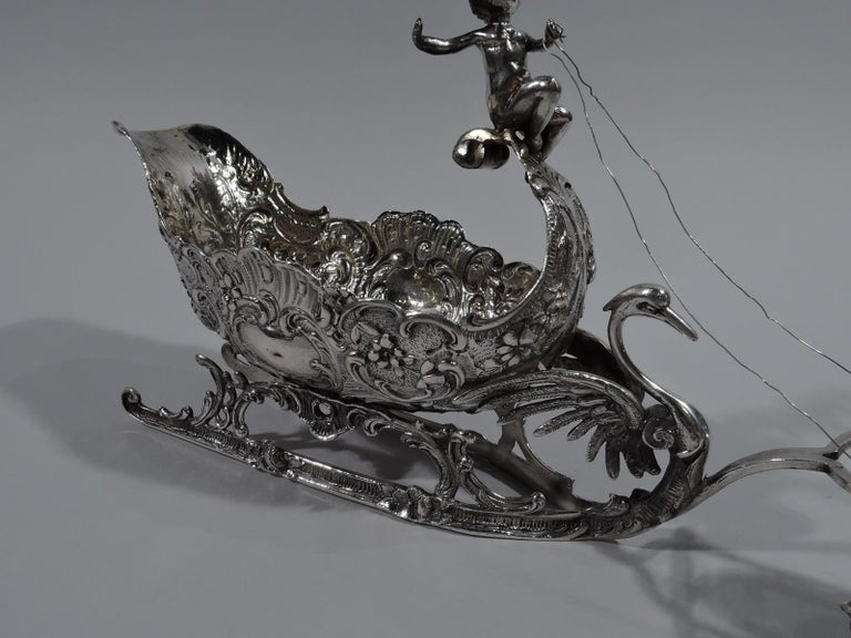 Women's or Men's Turn-of-the-Century German Rococo Revival Silver Reindeer and Sleigh For Sale