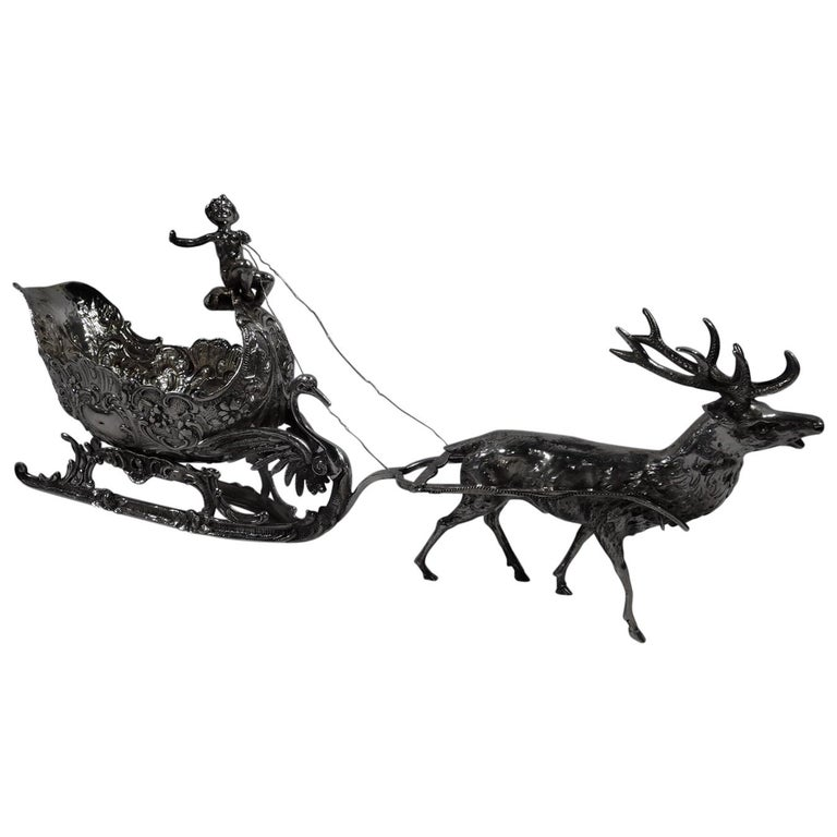Turn-of-the-Century German Rococo Revival Silver Reindeer and Sleigh For Sale