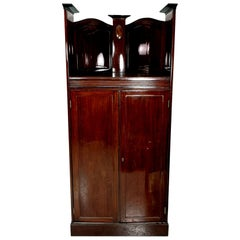 Turn of the Century Mahogany Corner Cabinet with Inlayed Intarsia