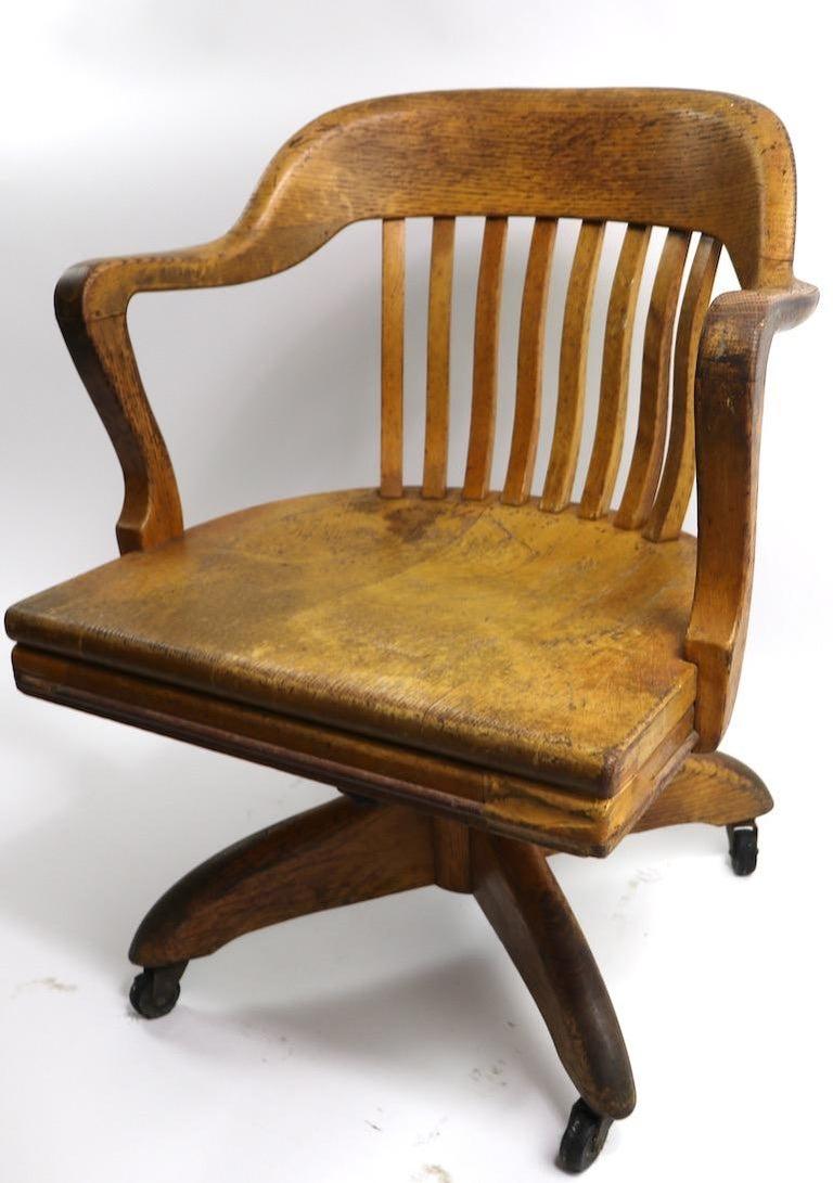 Turn Of The Century Oak Swivel Tilt Office Chair For Sale