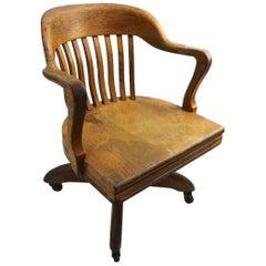 Turn of the Century Oak Swivel Tilt Office Chair