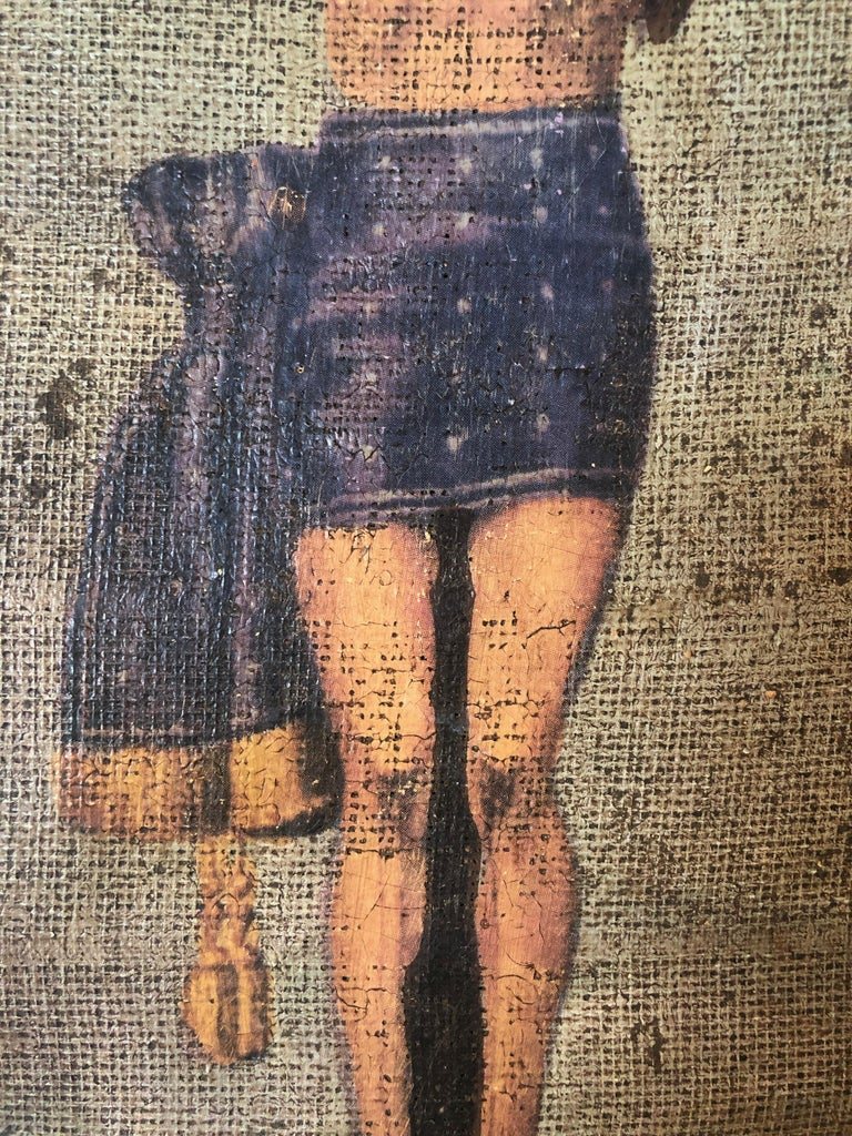 This is a lovely turn of the century painting of the crucifixion of Christ on cloth. The weave of the cloth gives the painting a beautiful texture and adds age related character. Some small tears are present, please see photos.