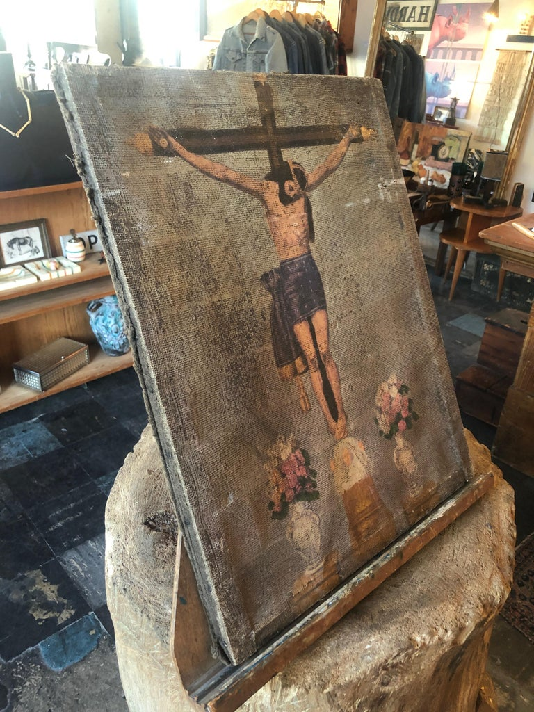 Natural Fiber Turn of the Century Painting of the Crucifixion of Christ on Cloth