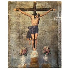 Turn of the Century Painting of the Crucifixion of Christ on Cloth