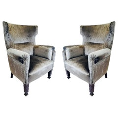 Turn of the Century Pair of Bergère Armchairs with Grey Velvet Upholstery, 1910