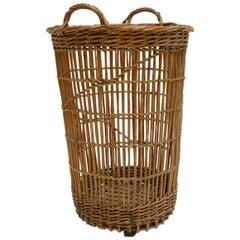 Turn of the Century Wicker Basket, Burgundy, circa 1900