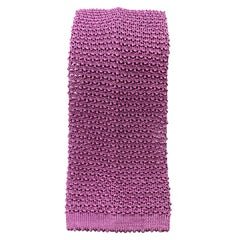 TURNBULL & ASSER Lilac Pink Purple Silk Textured Knit Tie