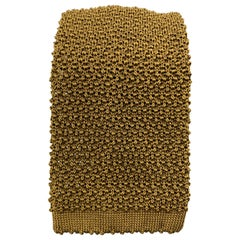 TURNBULL & ASSER Mustard Brown Silk Textured Knit Tie