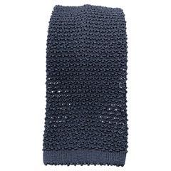 TURNBULL & ASSER Navy Silk Textured Knit Tie