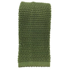 TURNBULL & ASSER Silk Olive Textured Knit Tie