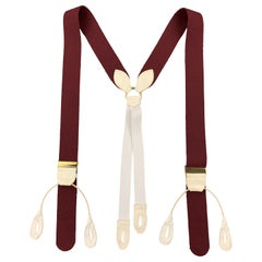 TURNBULL & ASSER Solid Burgundy Wool Suspenders