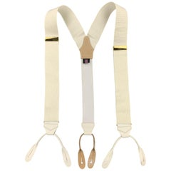 TURNBULL & ASSER Textured Off White Grosgrain Suspenders
