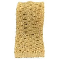 TURNBULL & ASSER Yellow Beige Silk Textured Knit Tie