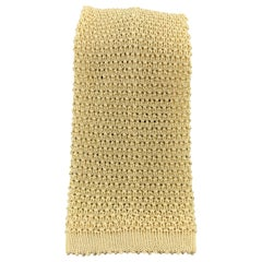 TURNBULL & ASSER Yellow Pastel Silk Textured Knit Tie