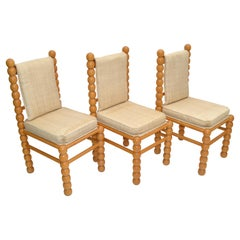 Turned Birch Wood & Fabric Upholstery Dining Chair Mid-Century Modern, Set of 3