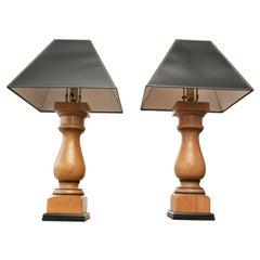 Turned Oak Lamps