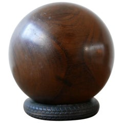 Turned Walnut Antique Ball Decorative Object