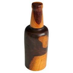 Turned Wood Bottle in Rosewood Assembled in Three Pieces