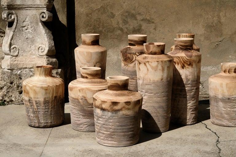 Modern Turned Wood Vase 'Alberi Short' For Sale