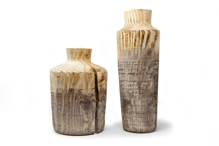 Italian Turned Wood Vase 'Alberi Short' For Sale