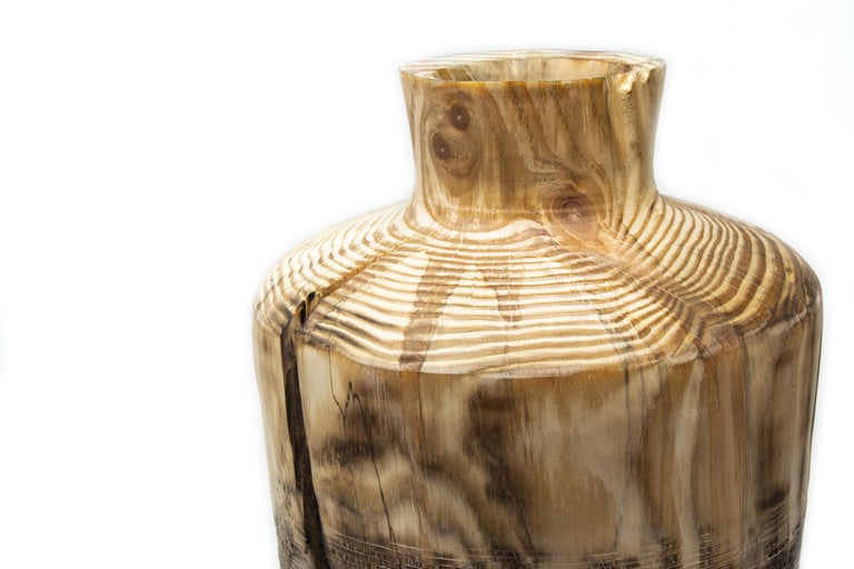 Turned Wood Vase 'Alberi Short' In New Condition For Sale In Milan, IT