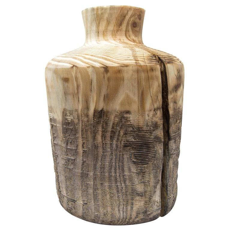 Turned Wood Vase 'Alberi Short' For Sale