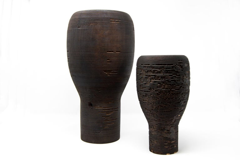 Italian Turned Wood Vase 'Anni L' For Sale