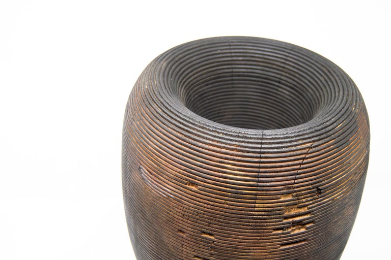 Turned Wood Vase 'Anni L' In New Condition For Sale In Milan, IT