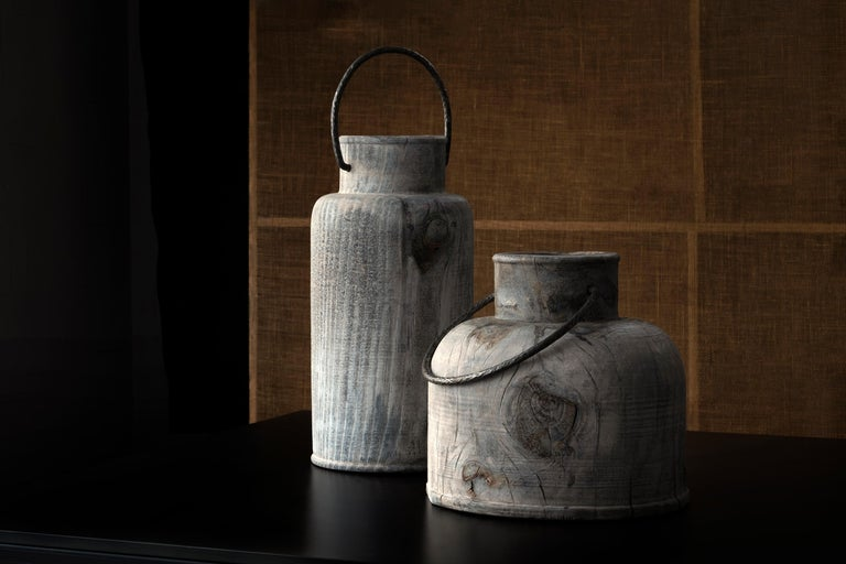 Contemporary Made in Italy Turned Wood Vase 'Grassland Short' For Sale
