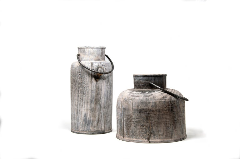 Made in Italy Turned Wood Vase 'Grassland Short' For Sale 2