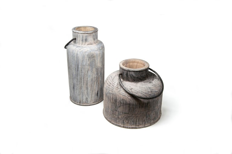 Made in Italy Turned Wood Vase 'Grassland Short' For Sale 3
