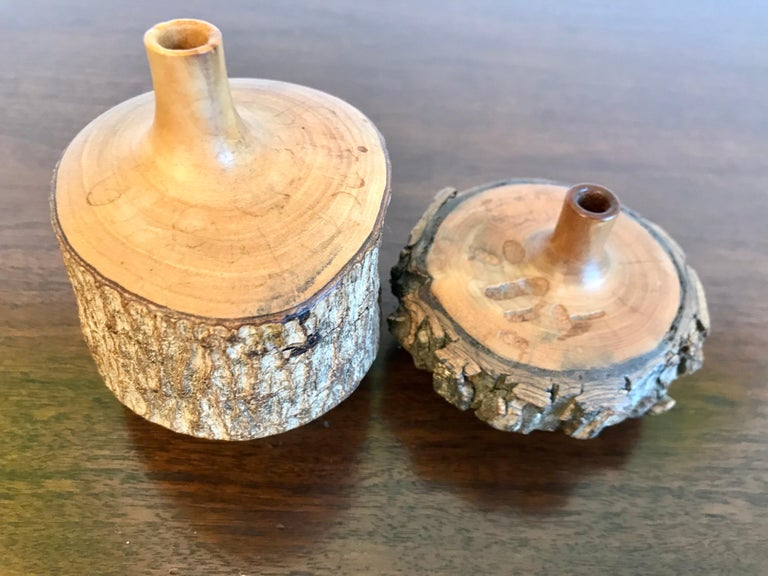 Turned Wood Weed Vases, 20th Century For Sale 5