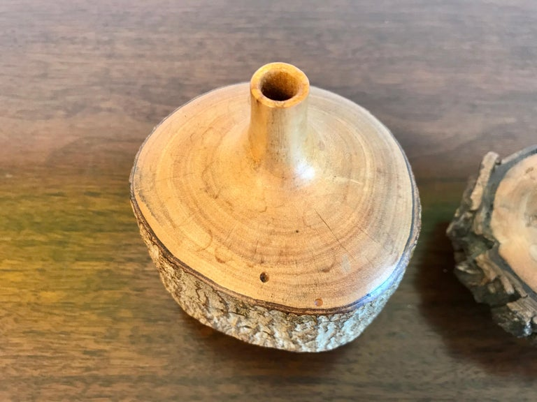 Turned Wood Weed Vases, 20th Century For Sale 6