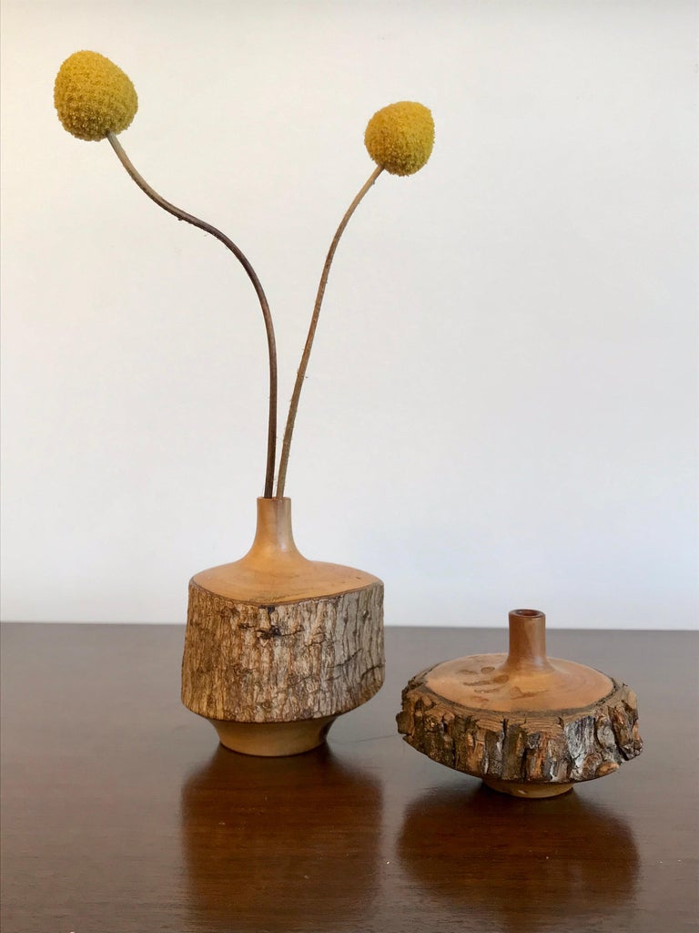 Modern Turned Wood Weed Vases, 20th Century For Sale