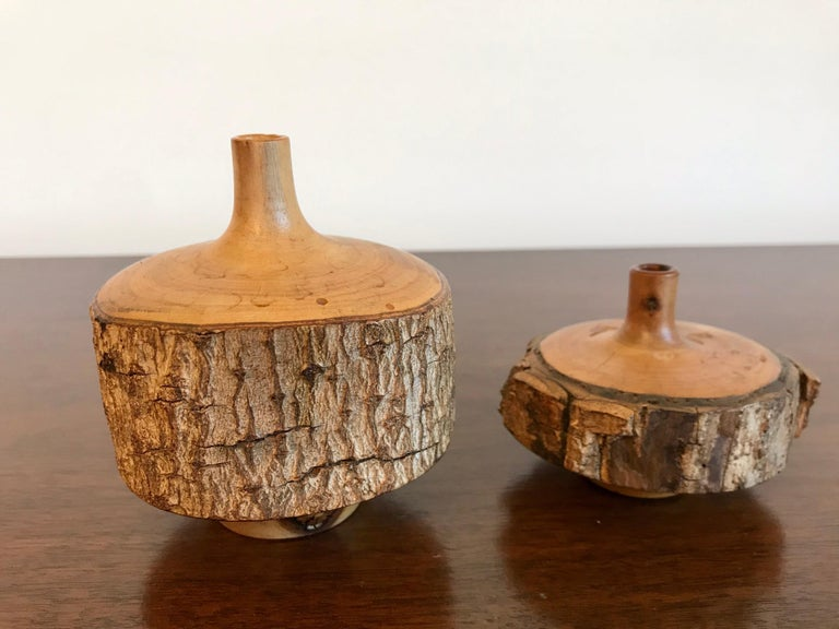 American Turned Wood Weed Vases, 20th Century For Sale